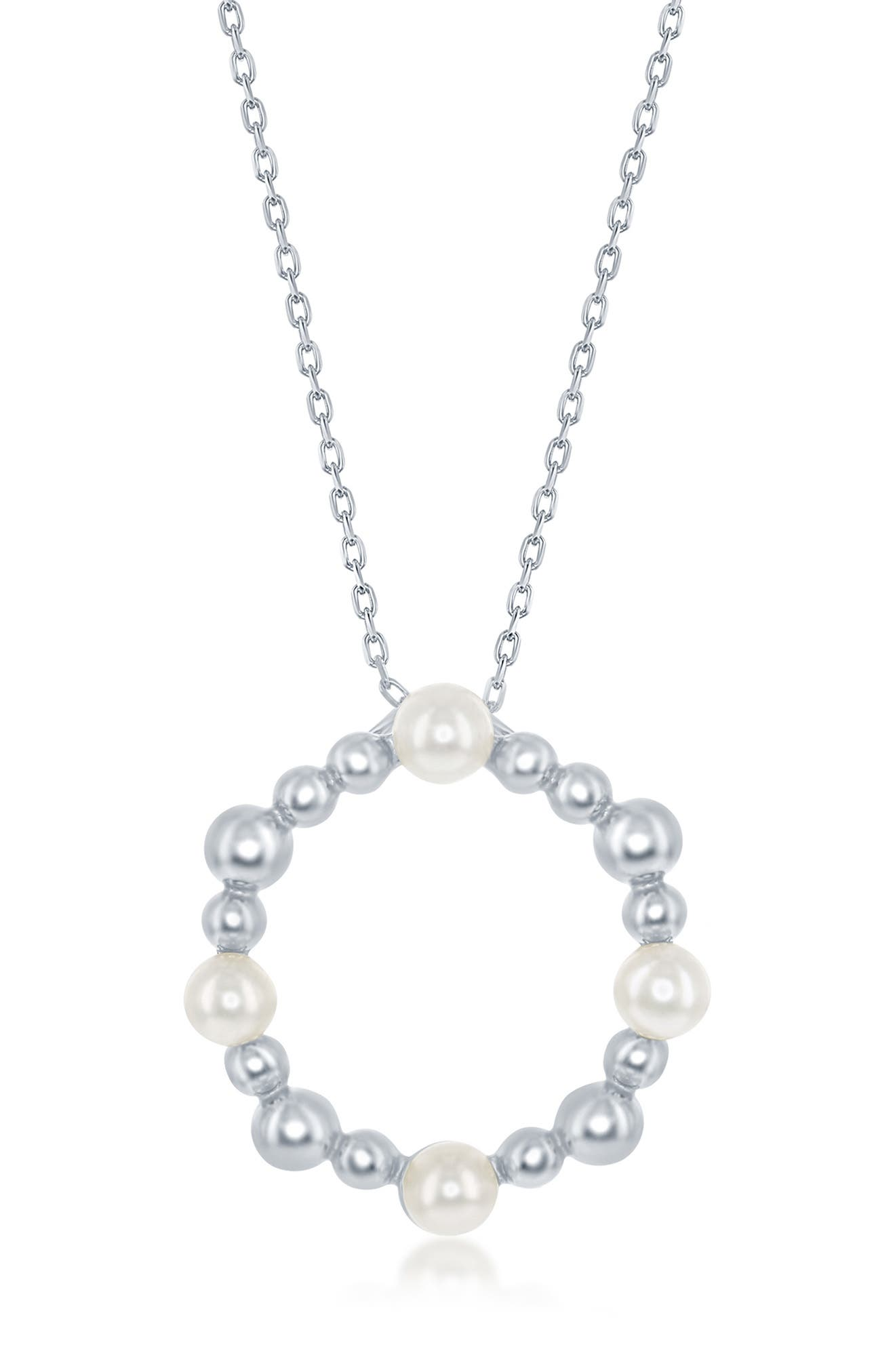 Image of Simona Jewelry Sterling Silver Freshwater Pearl & Beaded Circle Necklace