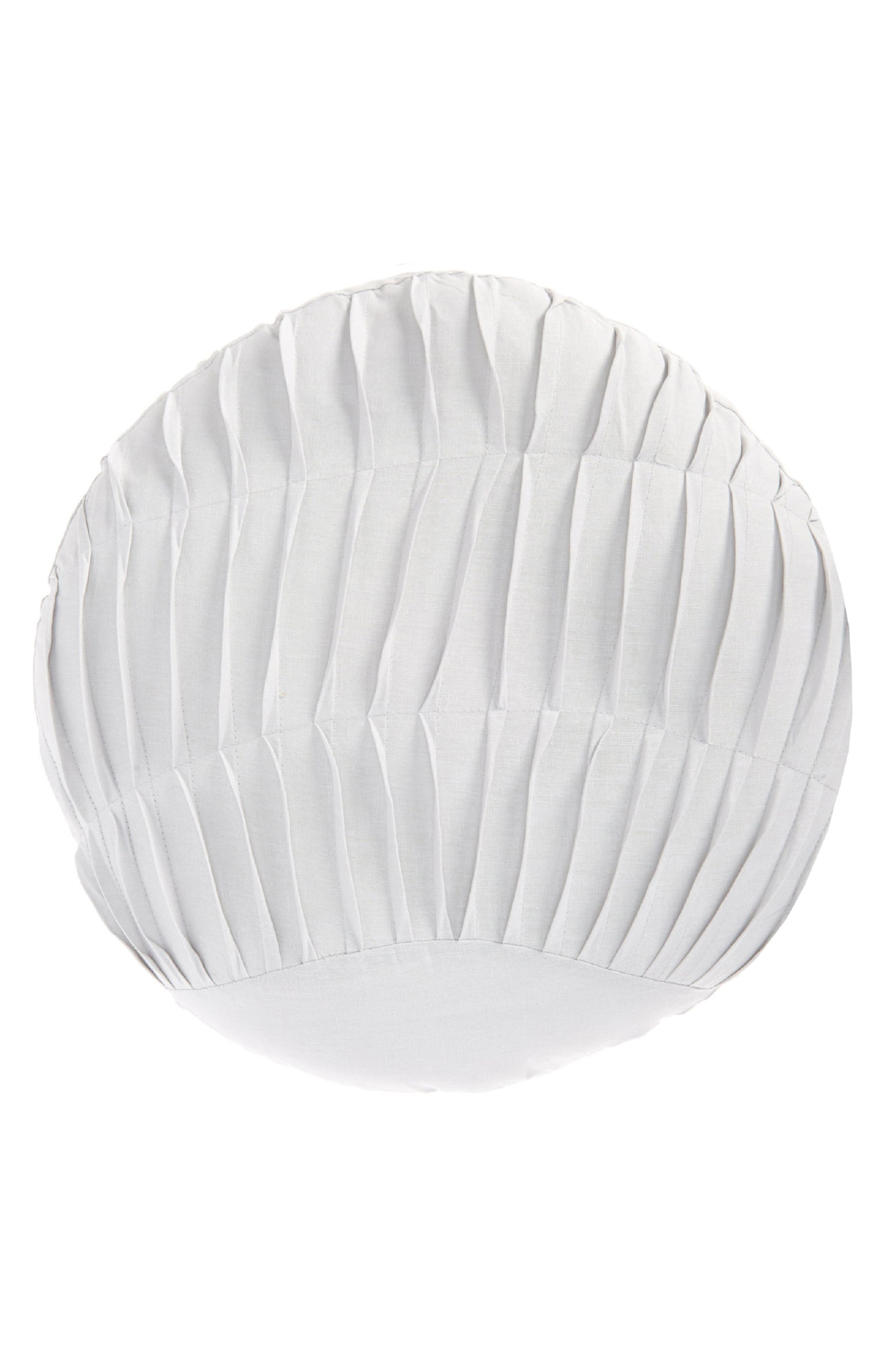 A round pillow of breathable linen and cotton has neat pintucked pleats down the front to make it look like a cute shell for a nautical touch. Style Name: Nordstrom Pleated Shell Pillow. Style Number: 5957968 1. Available in stores.