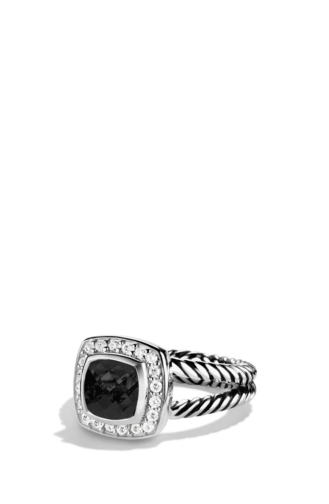 ,                             'Albion' Petite Ring with Semiprecious Stone & Diamonds,                             Main thumbnail 1, color,                             BLACK ONYX