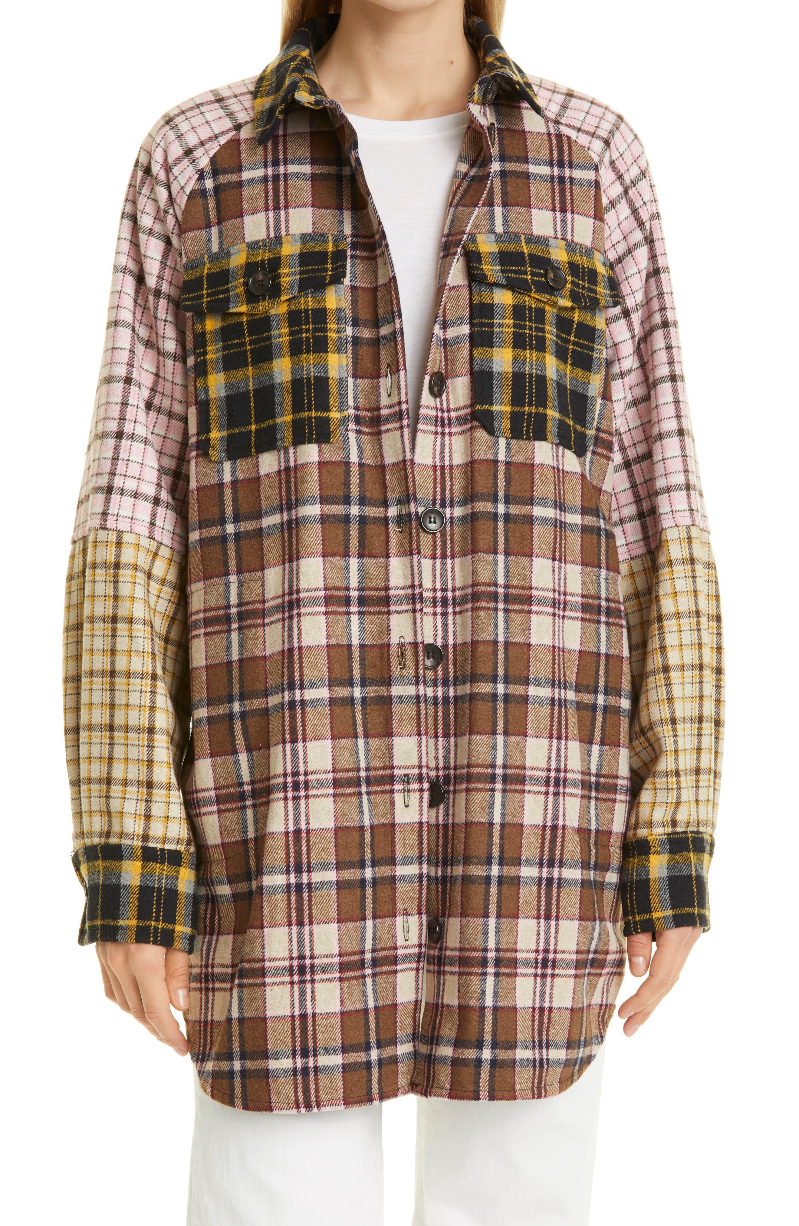 Pechelo Mixed Check Flannel Shirt