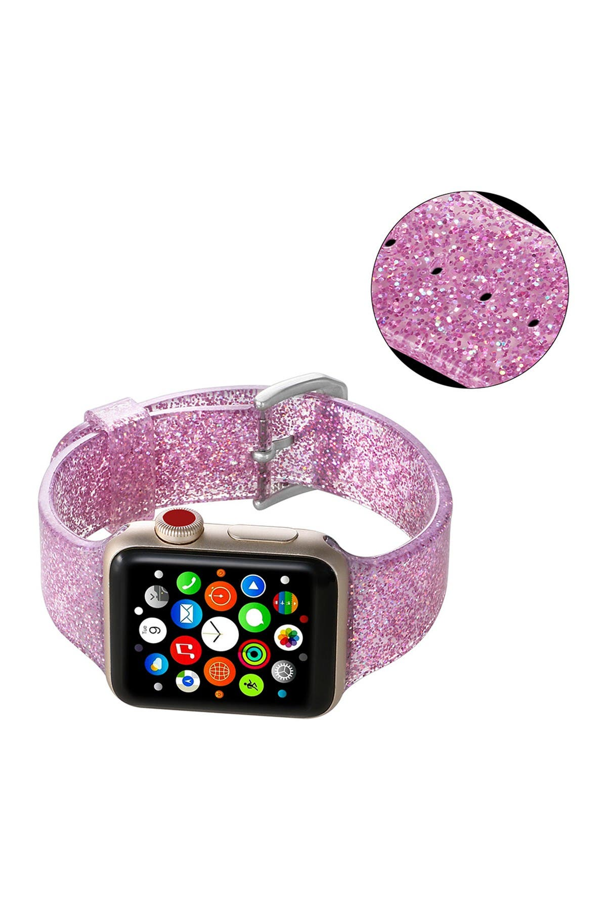 Image of POSH TECH Silicone Bling Glitter Band with Buckle Closure Version for 42mm/44mm Apple Watch Series 1, 2, 3, 4, 5