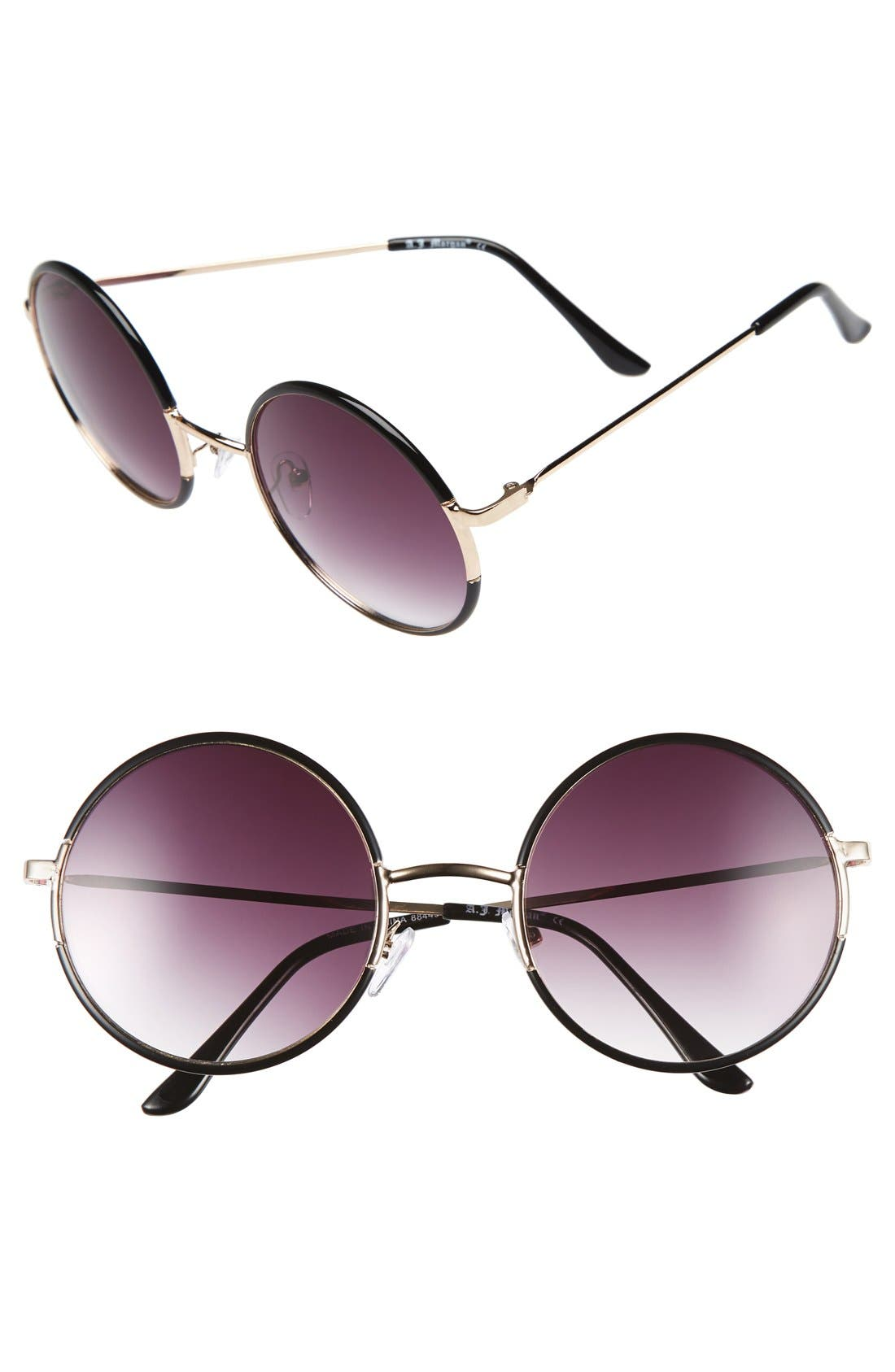 ,                             'Oh Nice' 55mm Round Sunglasses,                             Main thumbnail 1, color,                             001