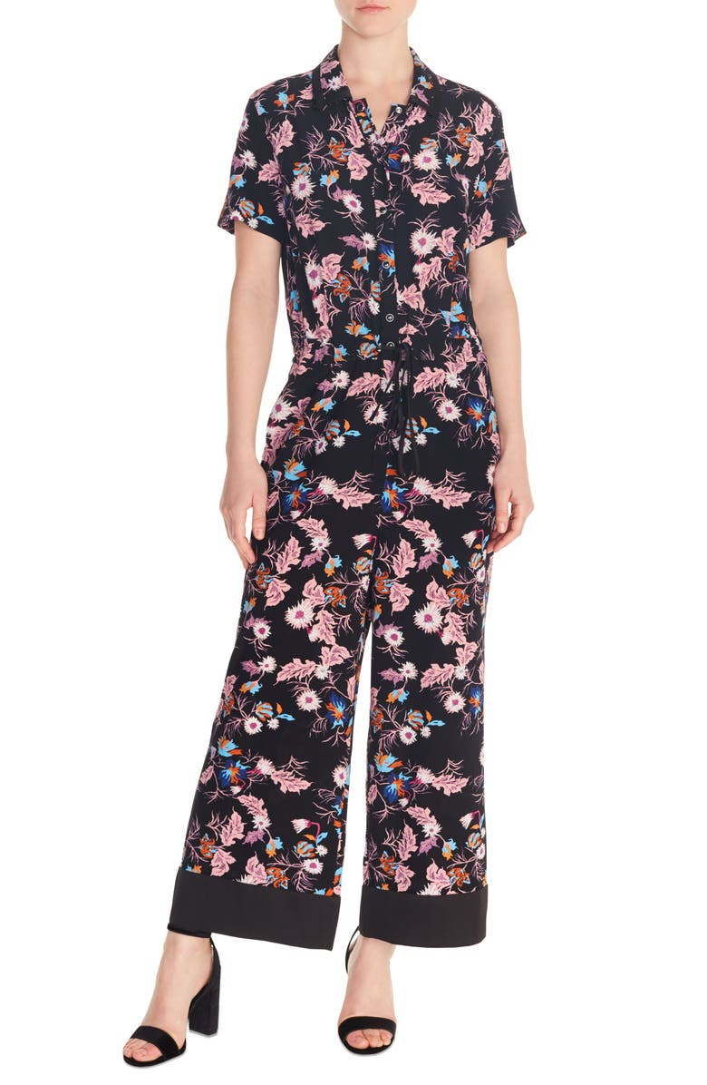 SANDRO Olivier Floral Jumpsuit, Main, color, 001