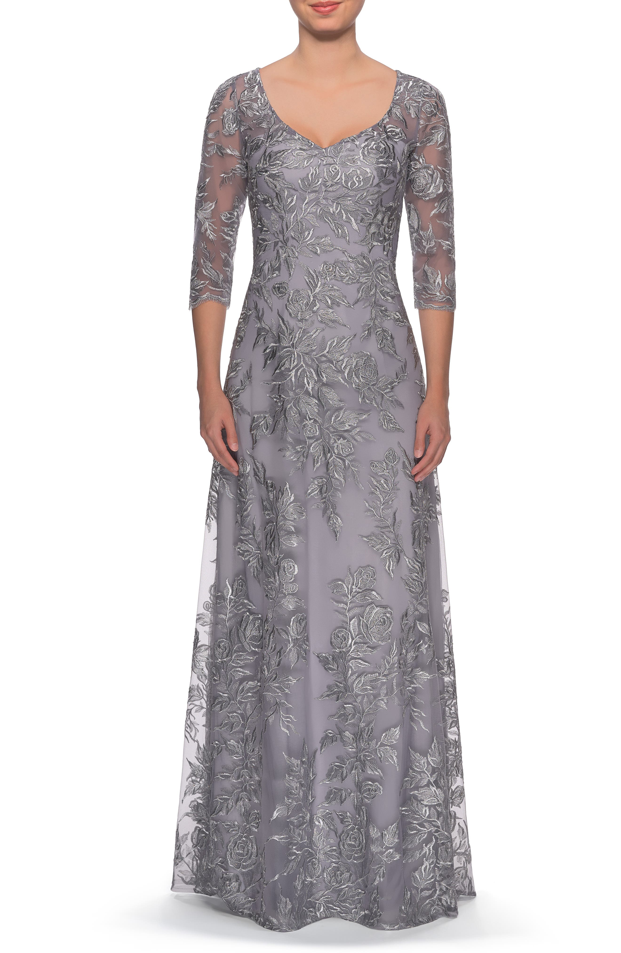 1940s Formal Dresses, Evening Gowns History Womens La Femme Floral Embroidered Mesh Evening Dress Size 10 - Metallic $278.00 AT vintagedancer.com