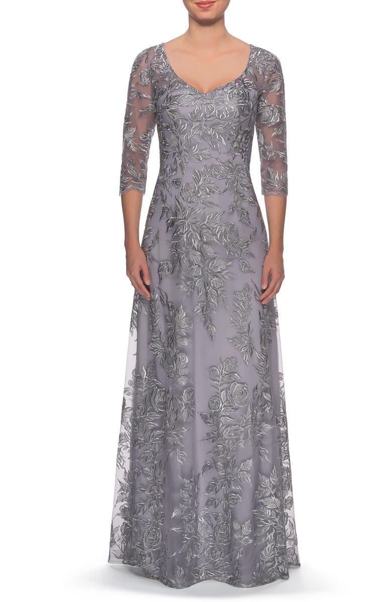 LA FEMME Floral Embroidered Mesh Evening Dress, Main, color, SILVER