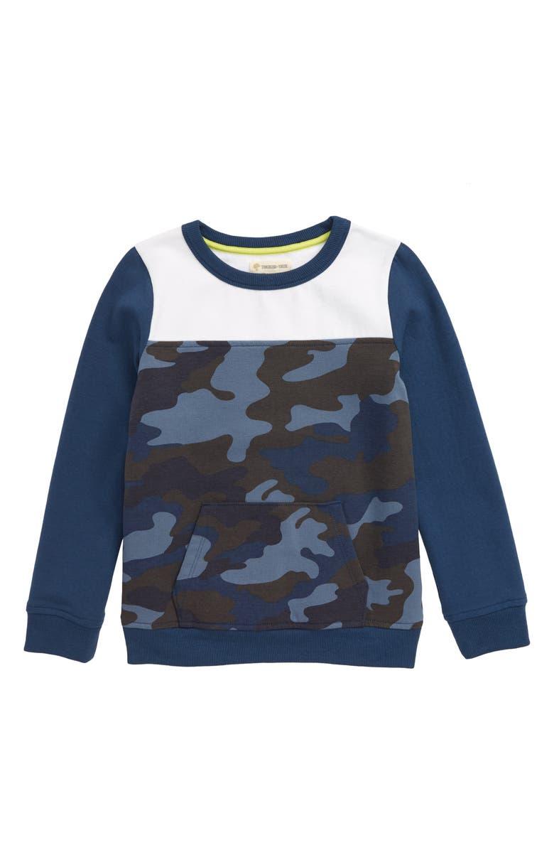 TUCKER + TATE Camo Blocked Sweatshirt, Main, color, NAVY DENIM CAMO
