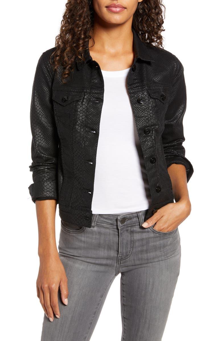 MAVI JEANS Samantha Snakeskin Print Denim Jacket, Main, color, 001