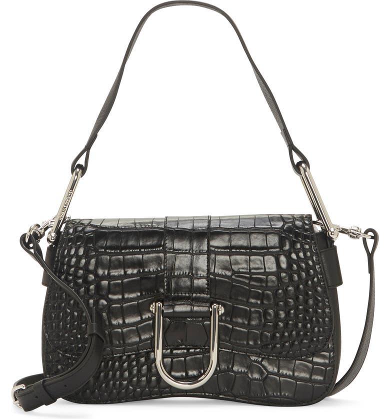 VINCE CAMUTO Tal Croc Embossed Leather Shoulder Bag, Main, color, 001