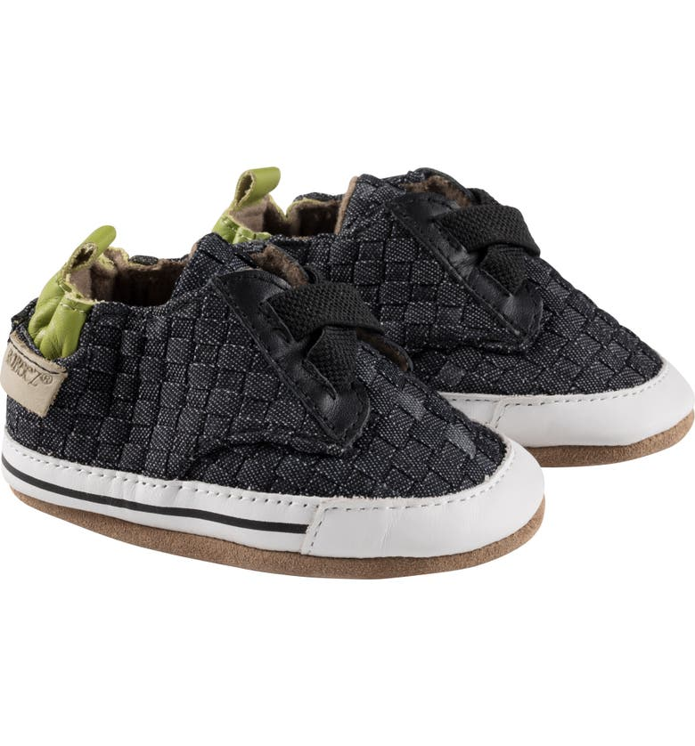 ROBEEZ<SUP>®</SUP> Cool Casual Woven Crib Sneaker, Main, color, DENIM