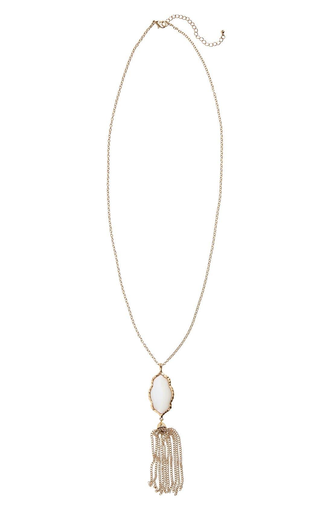 ,                             Stone Fringe Pendant Necklace,                             Main thumbnail 3, color,                             100