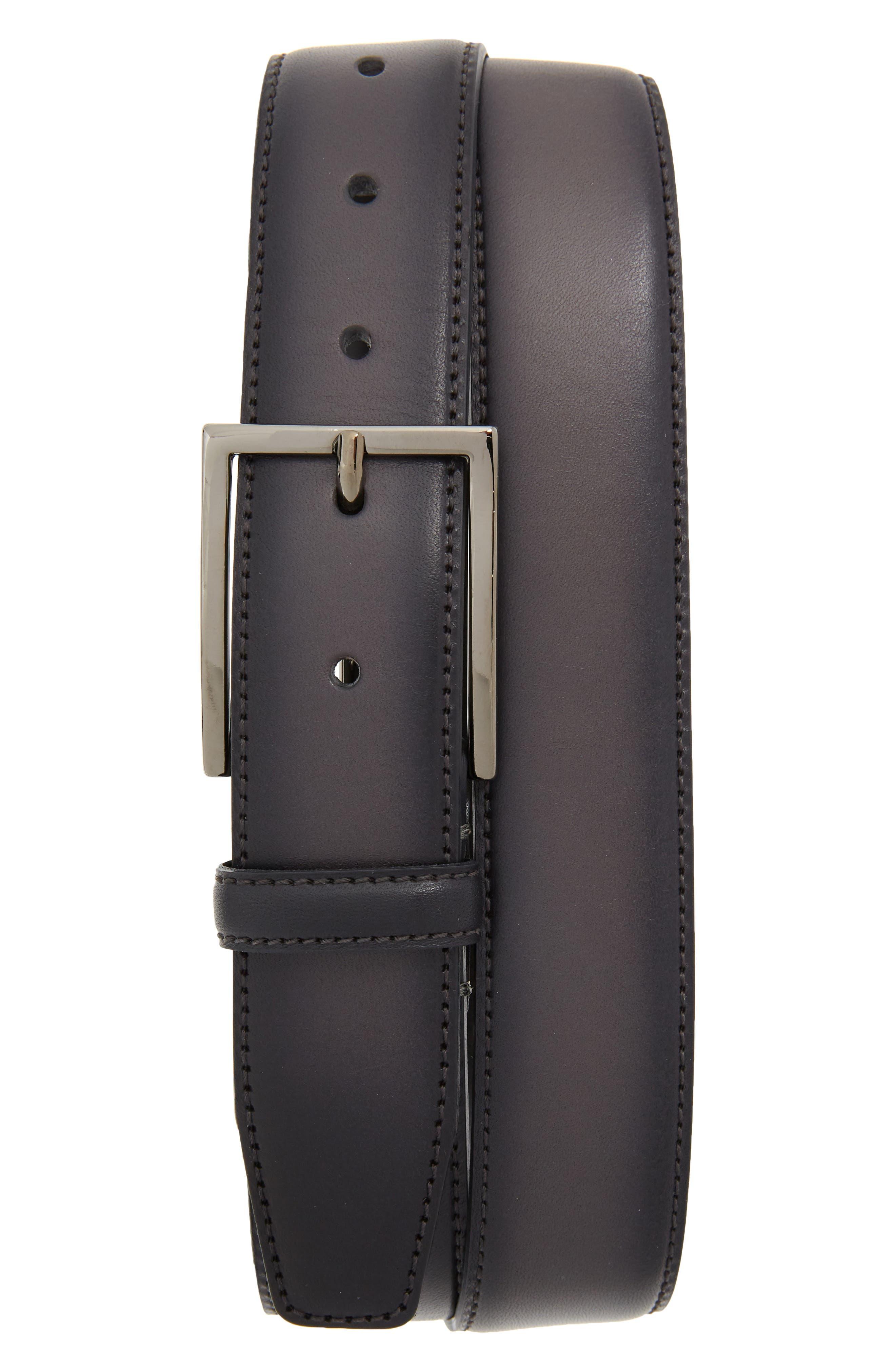 Nordstrom Shop Marco Burnished Leather Belt, Grey Excalibur