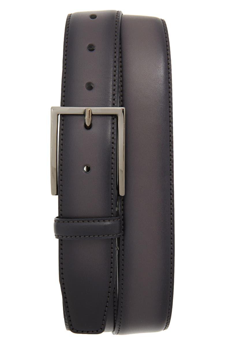NORDSTROM MEN'S SHOP Marco Burnished Leather Belt, Main, color, GREY EXCALIBUR