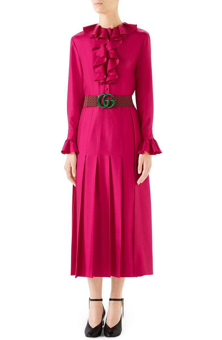 GUCCI Ruffle Front Silk Twill Dress, Main, color, HOT PINK