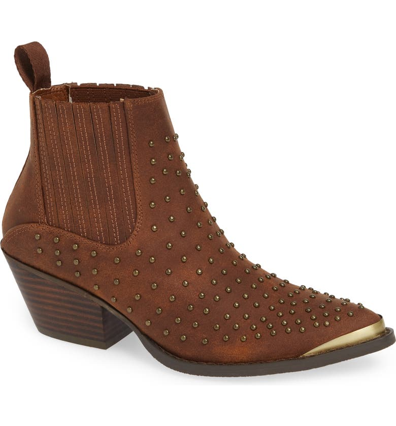 VERY VOLATILE Alona Studded Bootie, Main, color, BROWN FAUX LEATHER