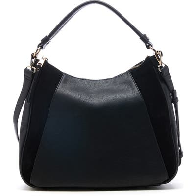 Sole Society Suede & Faux Leather Shoulder Bag - Black