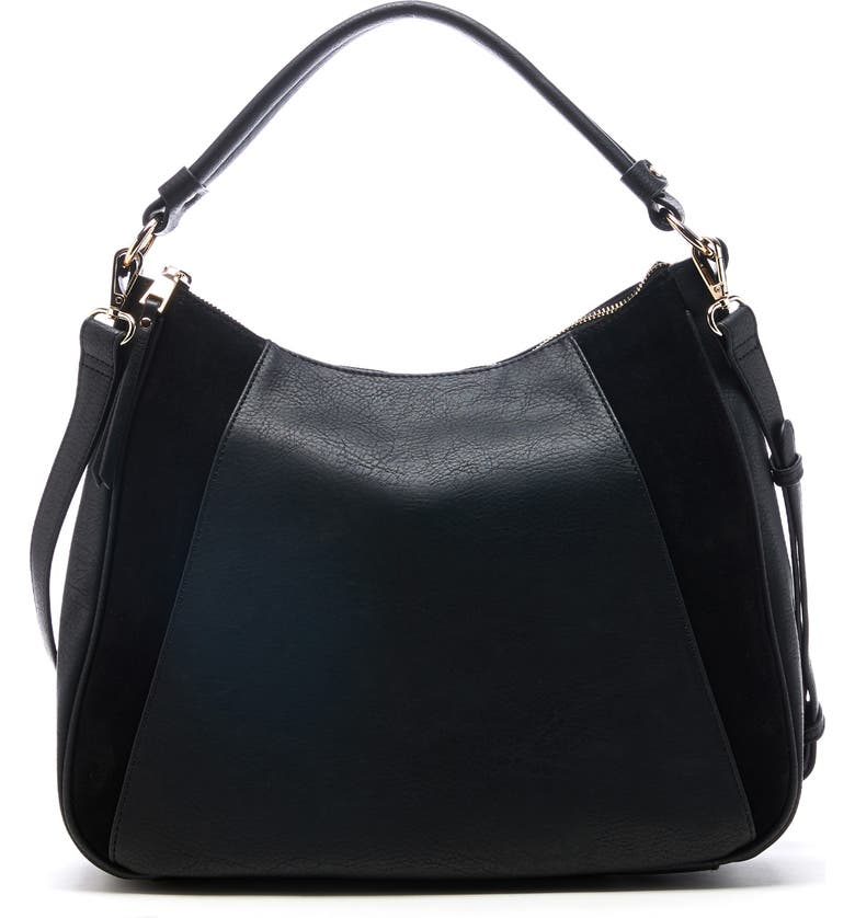 SOLE SOCIETY Suede & Faux Leather Shoulder Bag, Main, color, BLACK