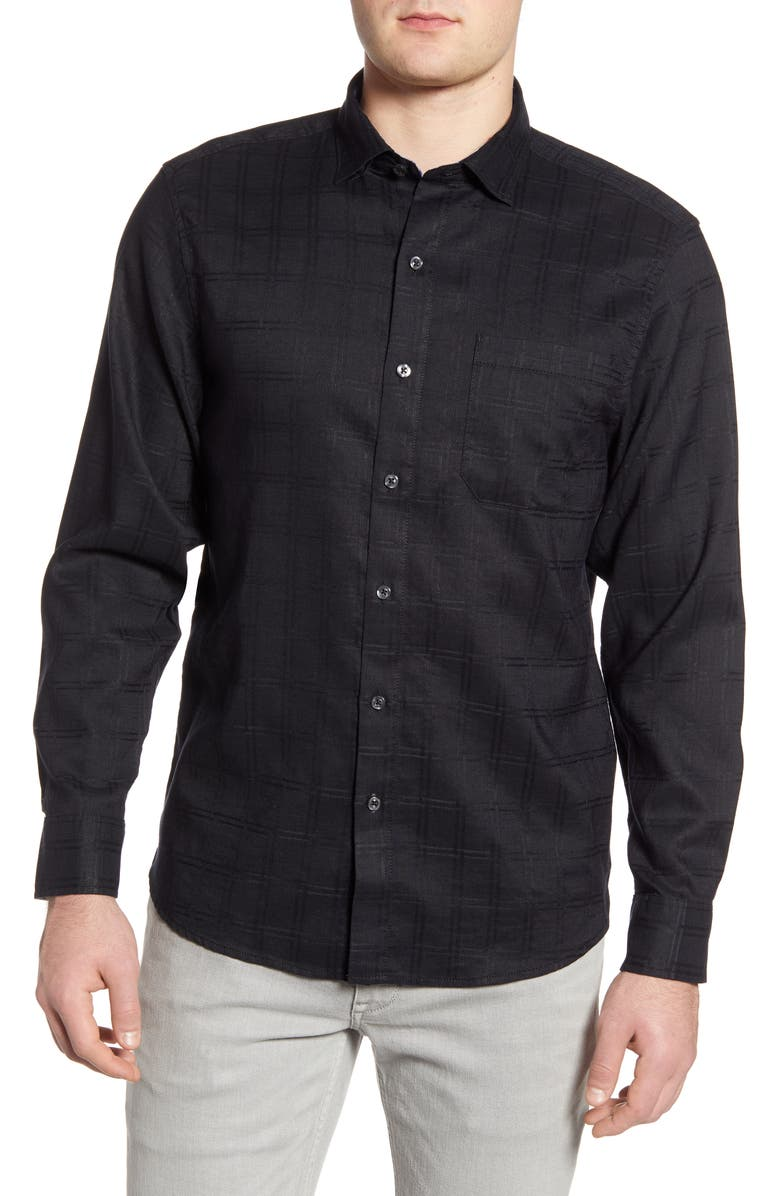 TOMMY BAHAMA Costa Capri Classic Fit Linen Blend Button-Up Shirt, Main, color, BLACK