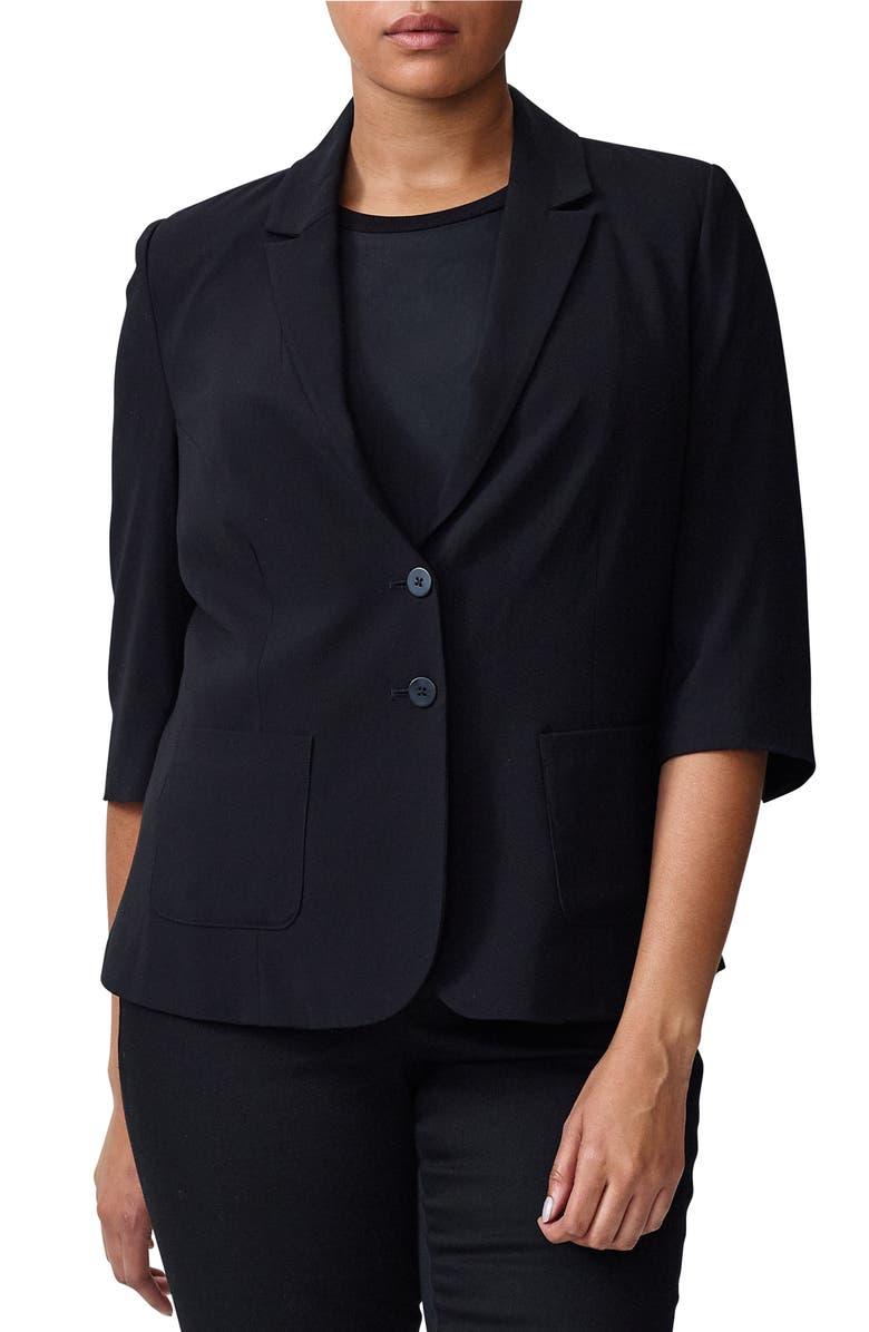 UNIVERSAL STANDARD Meg Elbow-Sleeve Blazer, Main, color, BLACK