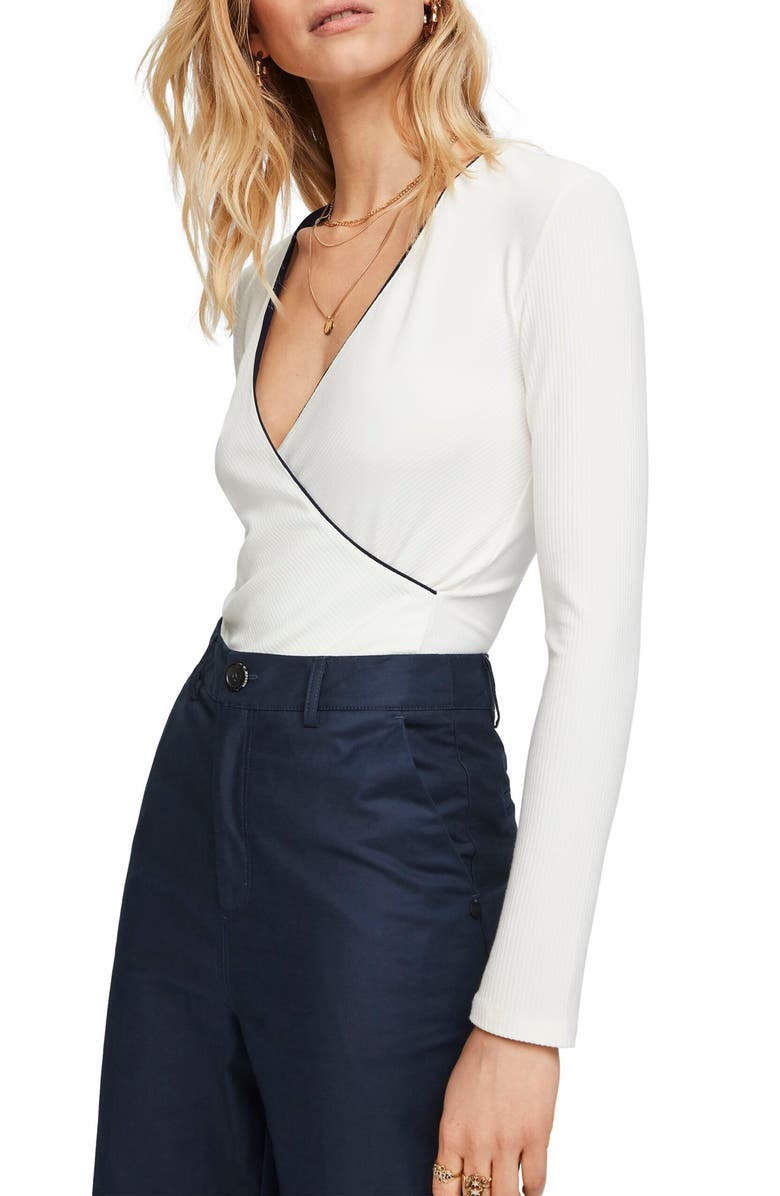 SCOTCH & SODA Long Sleeve Surplice T-Shirt, Main, color, 900