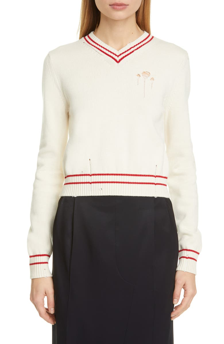 MAISON MARGIELA Stripe Trim Distressed Cotton & Cashmere Sweater, Main, color, WHITE RED STRIPES