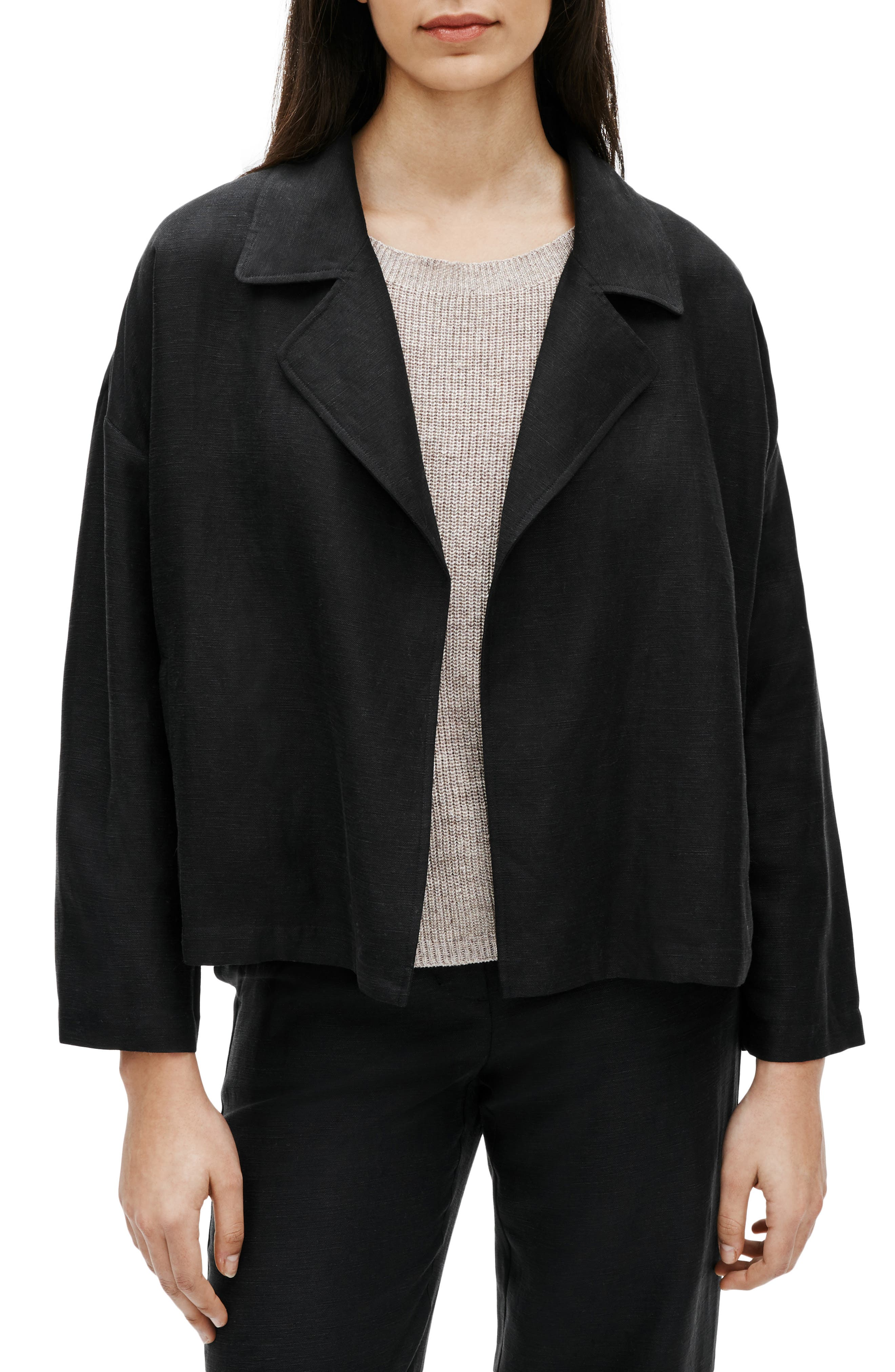 Eileen Fisher Open Front Organic Linen Blend Jacket (Regular & Petite)   Nordstrom