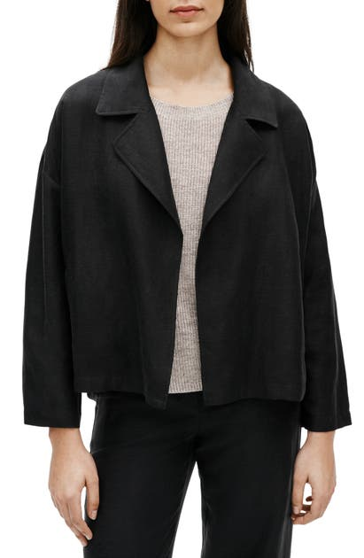 EILEEN FISHER OPEN FRONT ORGANIC LINEN BLEND JACKET