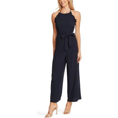 Cece Sleeveless Belted Ruffle Jumpsuit, Blue