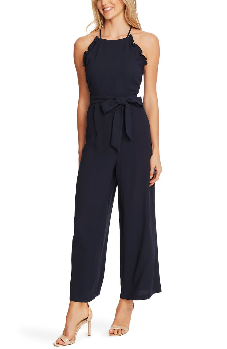 CECE Sleeveless Belted Ruffle Jumpsuit, Main, color, NIGHT SHADE