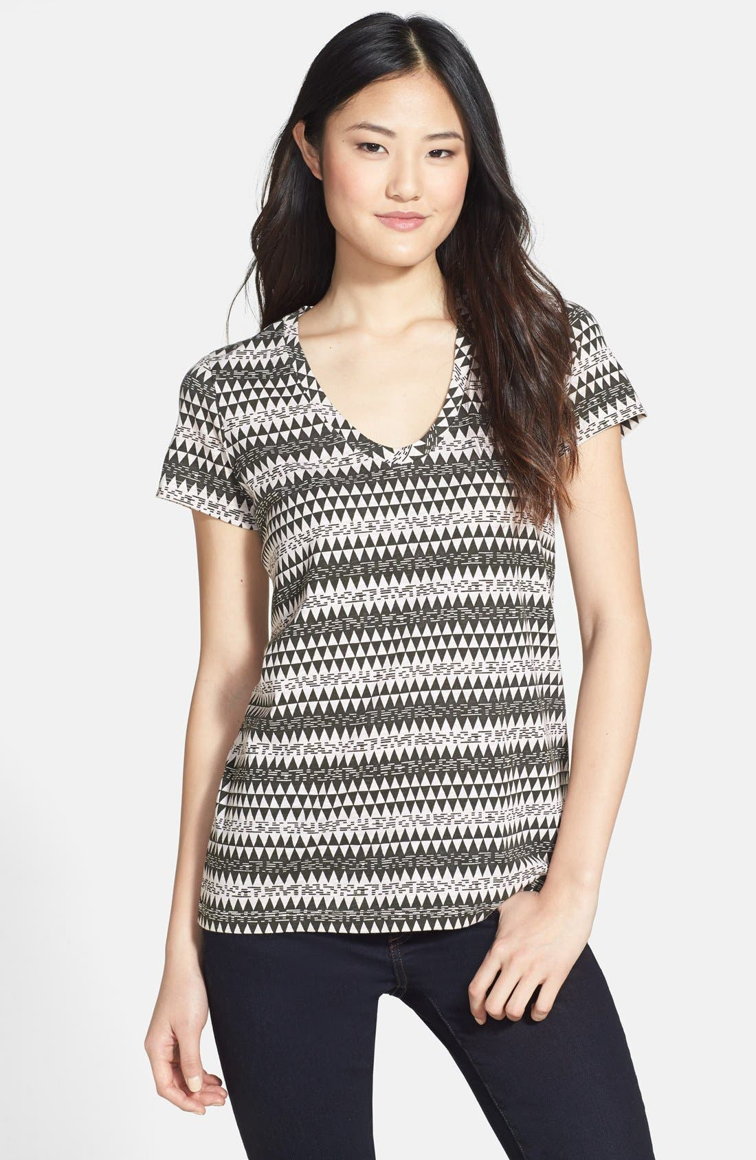 ,                             Relaxed Slub Knit U-Neck Tee,                             Main thumbnail 220, color,                             344