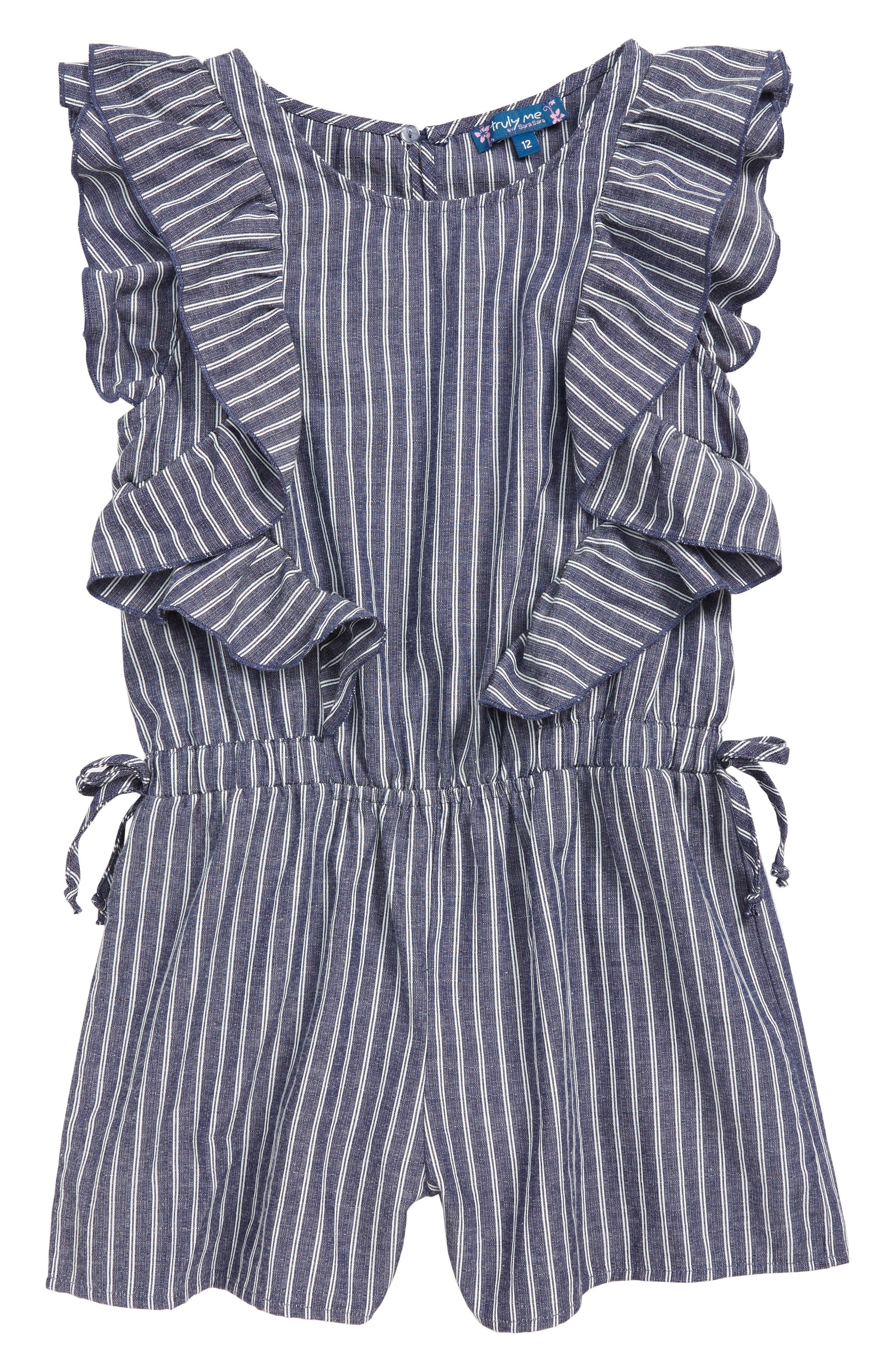 ,                             Stripe Ruffle Romper,                             Main thumbnail 1, color,                             BLUE