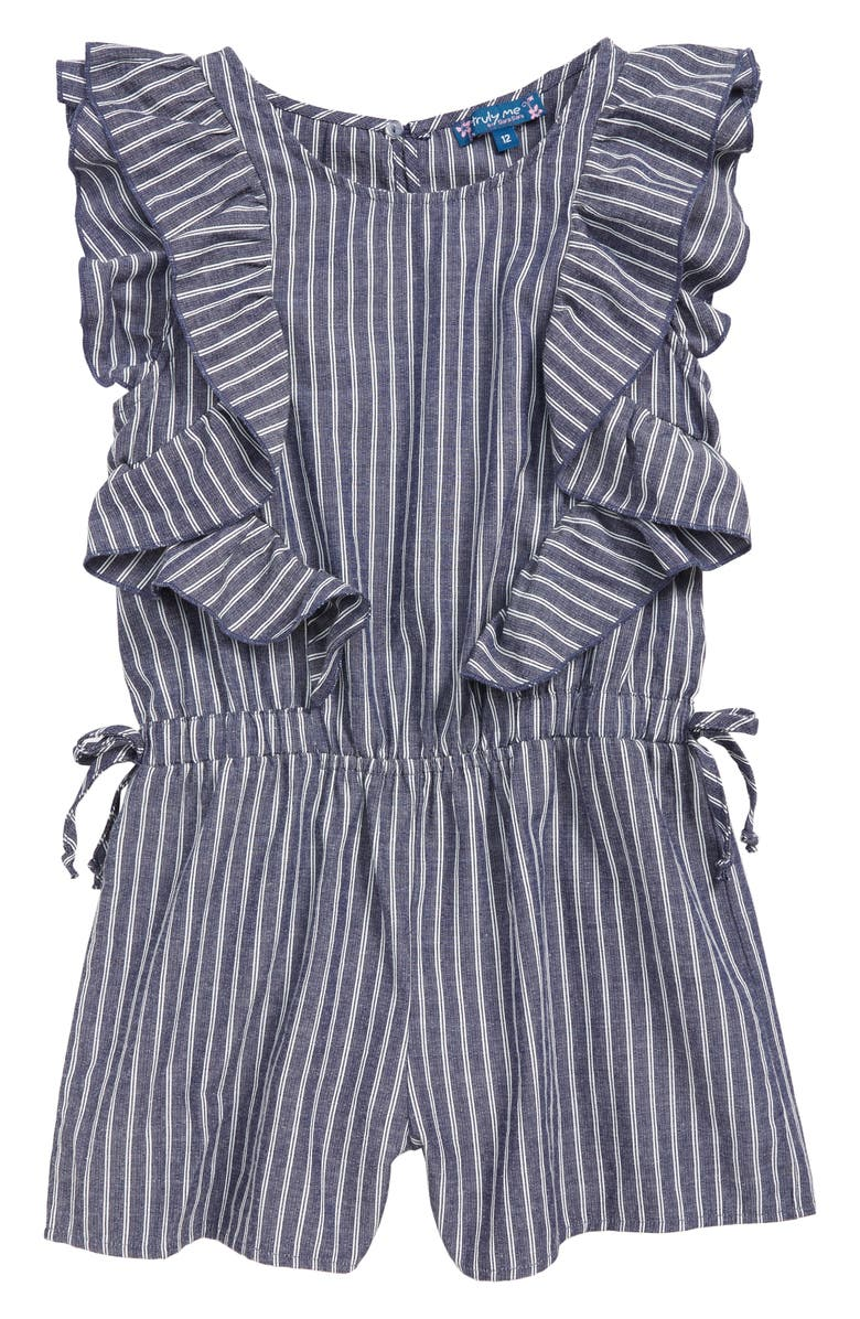 TRULY ME Stripe Ruffle Romper, Main, color, BLUE