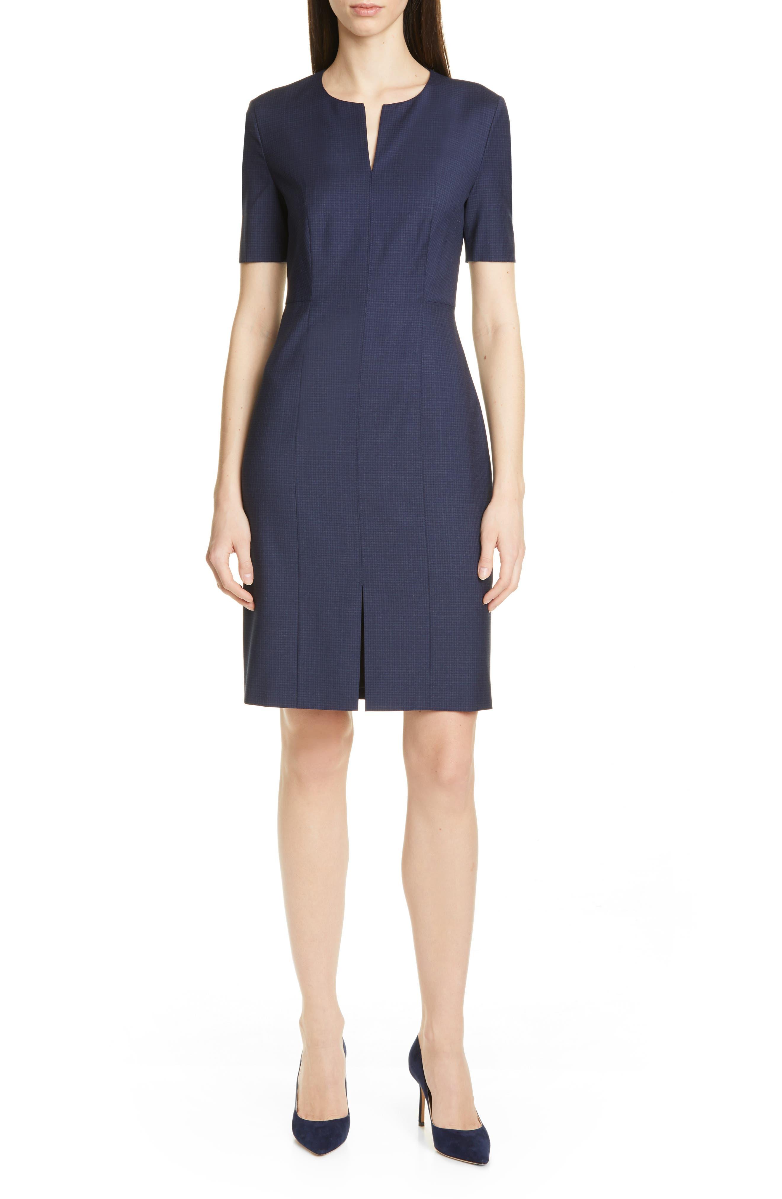 Petite Boss Delysia Small Check Wool Sheath Dress, Blue