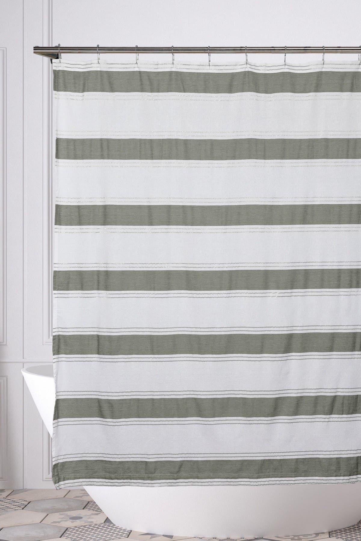 Image of Duck River Textile Namia Shower Curtain - White/Grey