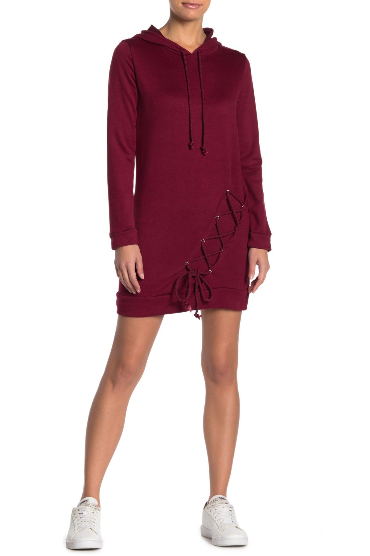 Image of dee elly Lace Up Hoodie Dress