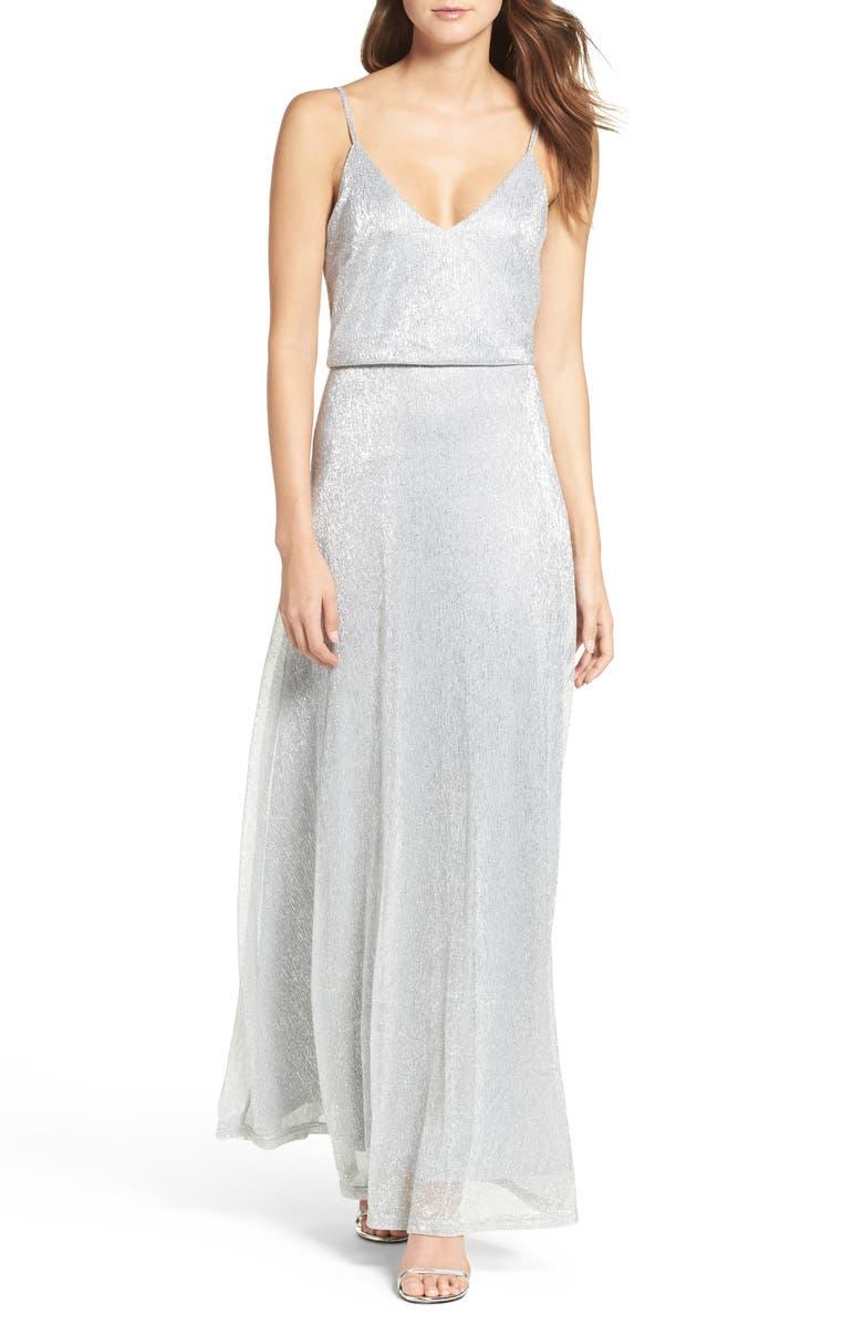 LULUS Blouson Shimmer Gown, Main, color, 040