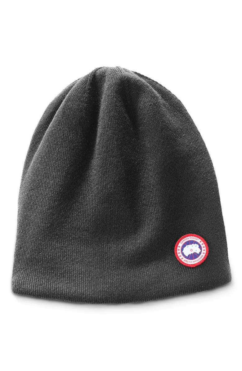 CANADA GOOSE Standard Wool Blend Beanie, Main, color, IRON GREY