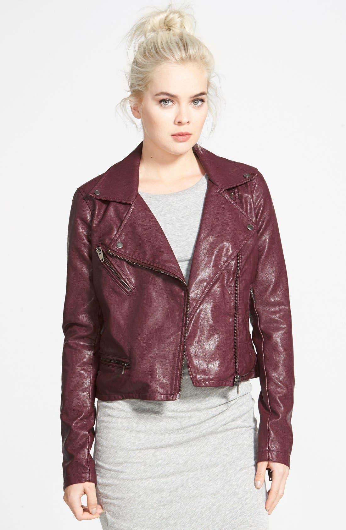 ,                             Faux Leather Moto Jacket,                             Main thumbnail 13, color,                             600