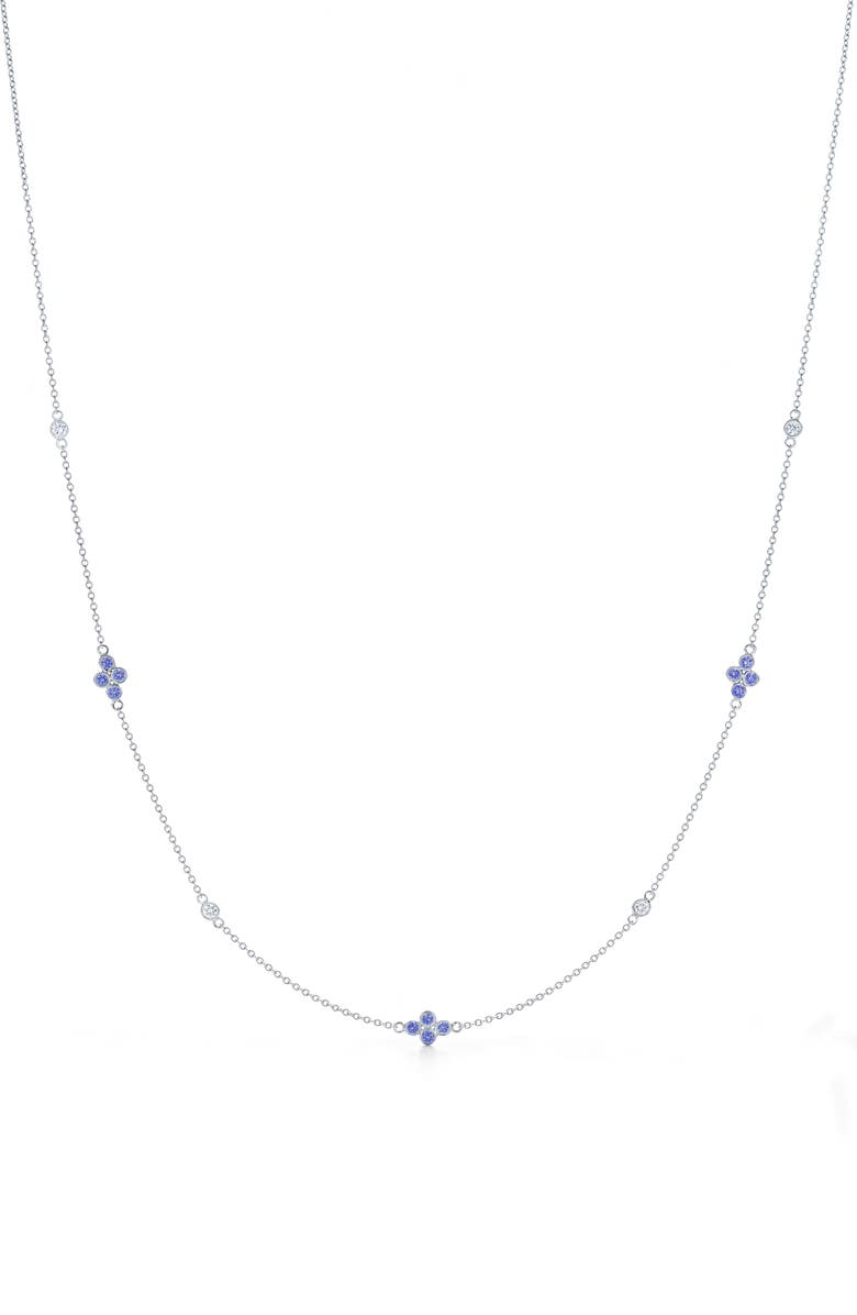 KWIAT Diamond Strings Diamond & Sapphire Station Necklace, Main, color, WHITE GOLD