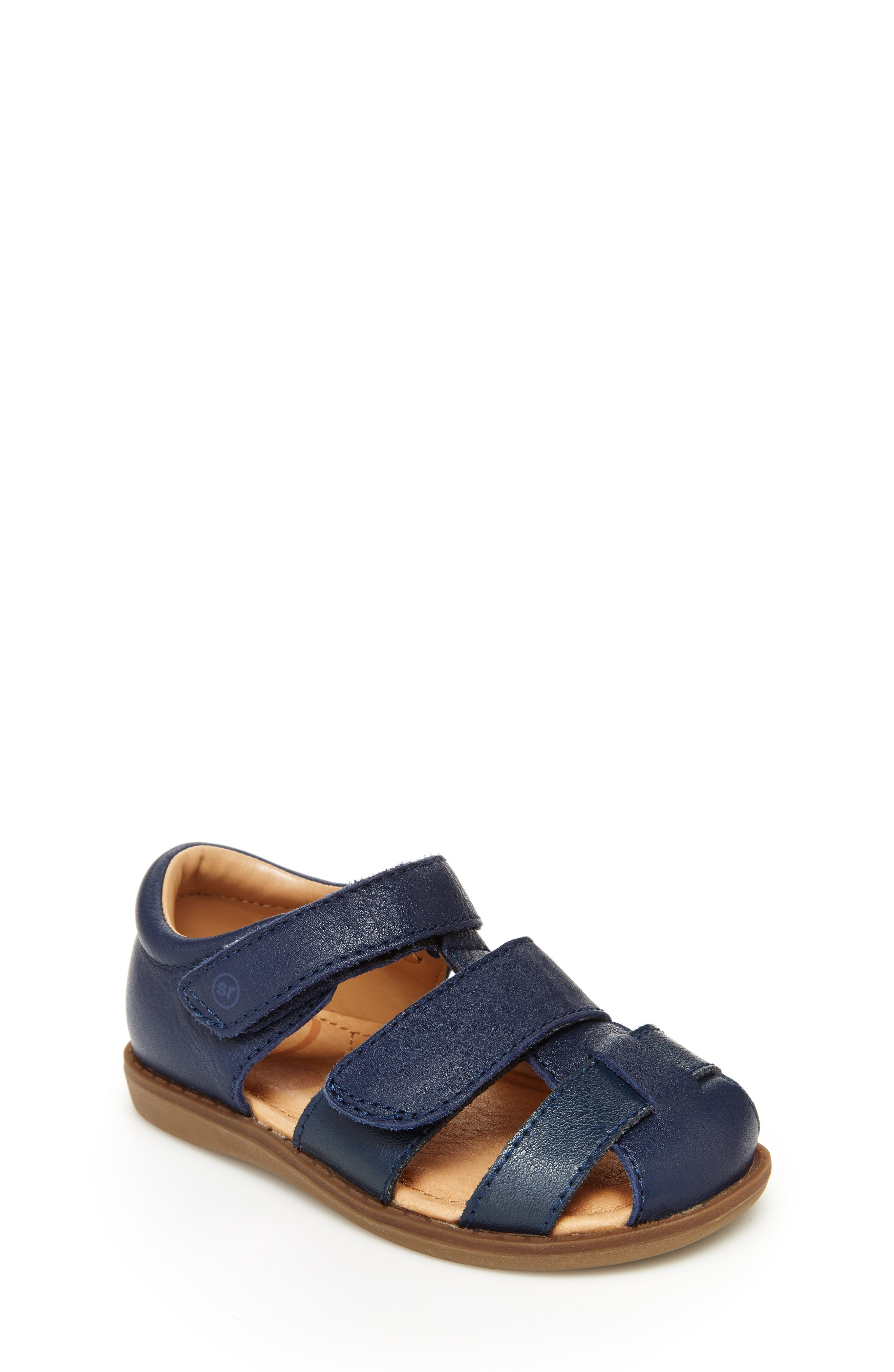 Smooth leather brings irresistible charm to a fisherman sandal featuring a cushy memory foam footbed and adjustable hook-and-loop strap. Style Name: Stride Rite Emerson Sandal (Baby, Walker & Toddler). Style Number: 5854256. Available in stores.