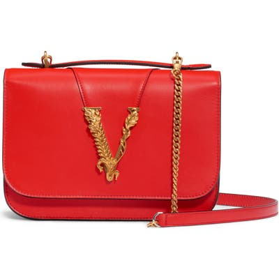 Versace V Leather Top Handle Bag - Red