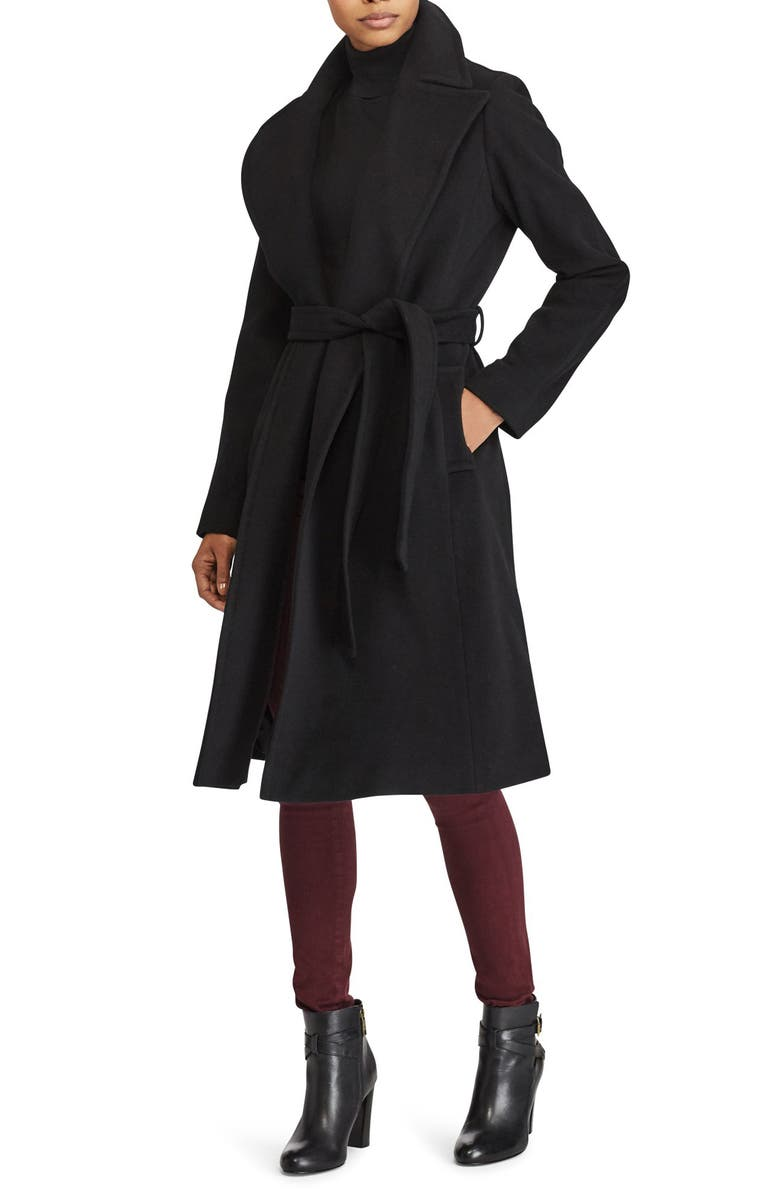 LAUREN RALPH LAUREN Wool Blend Wrap Coat, Main, color, BLACK