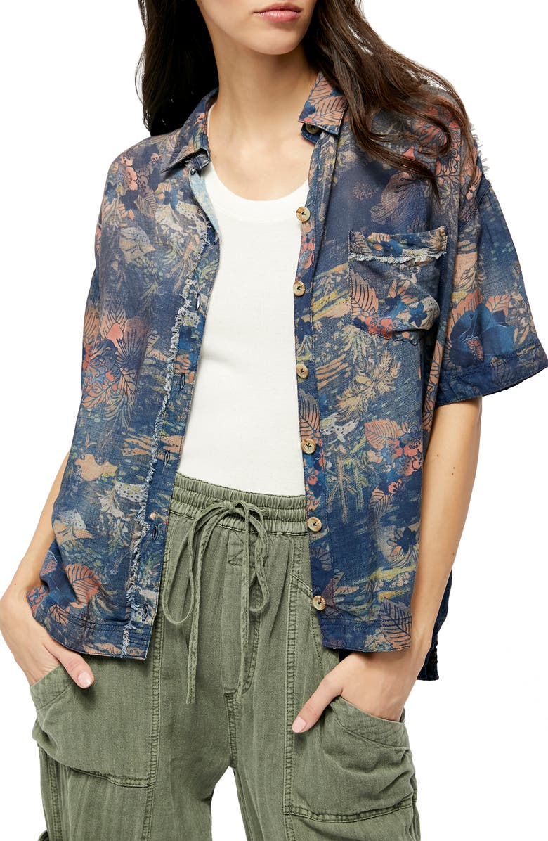 FREE PEOPLE Share Good Vibes Print Shirt, Main, color, NAVY COMBO