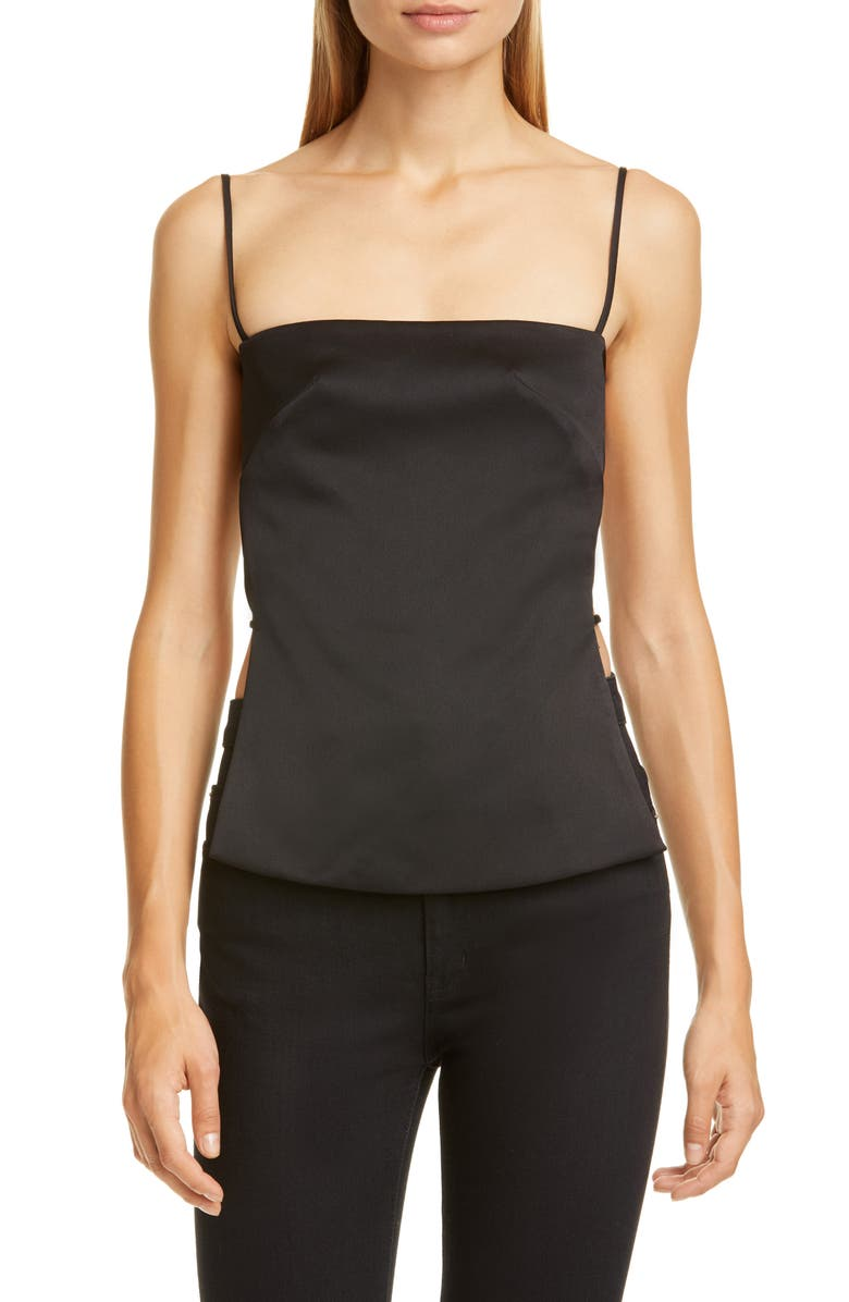 CULT GAIA Simone Satin Camisole Top, Main, color, BLACK