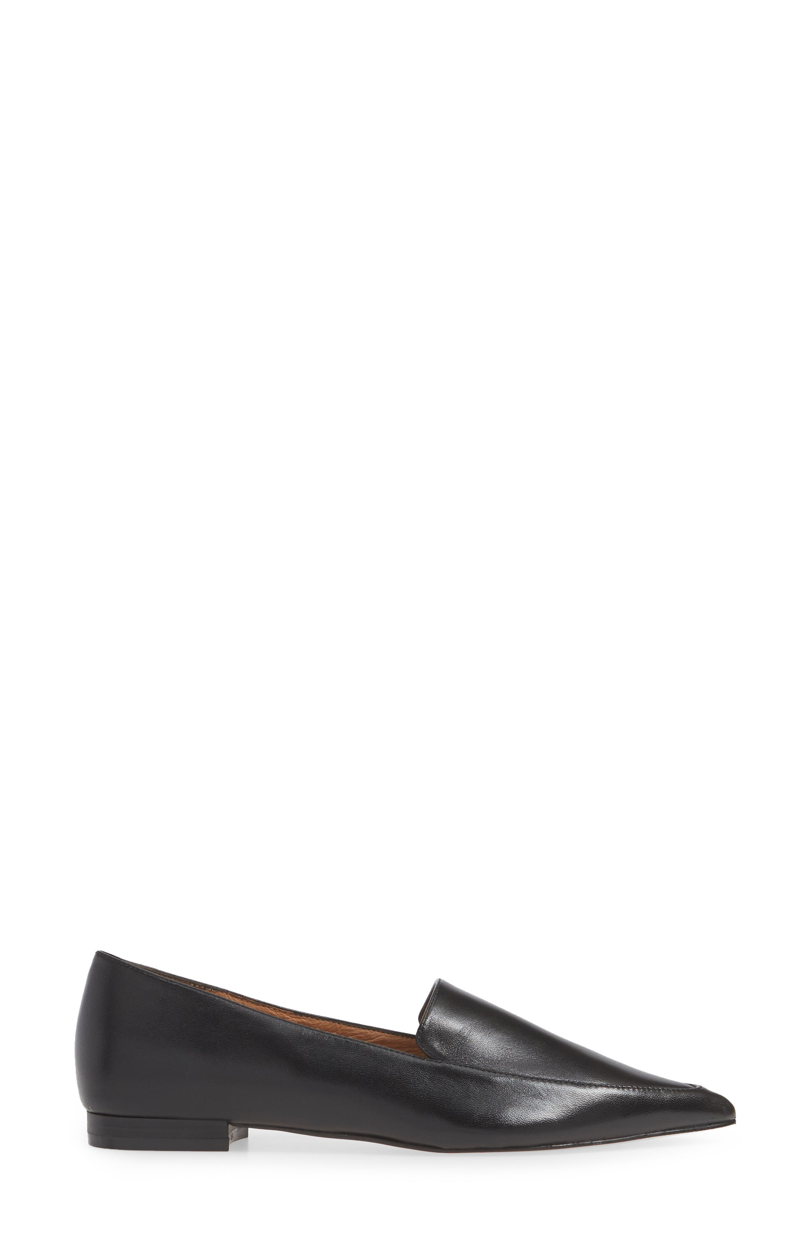 ,                             Kendra Pointy Toe Loafer,                             Alternate thumbnail 3, color,                             BLACK LEATHER