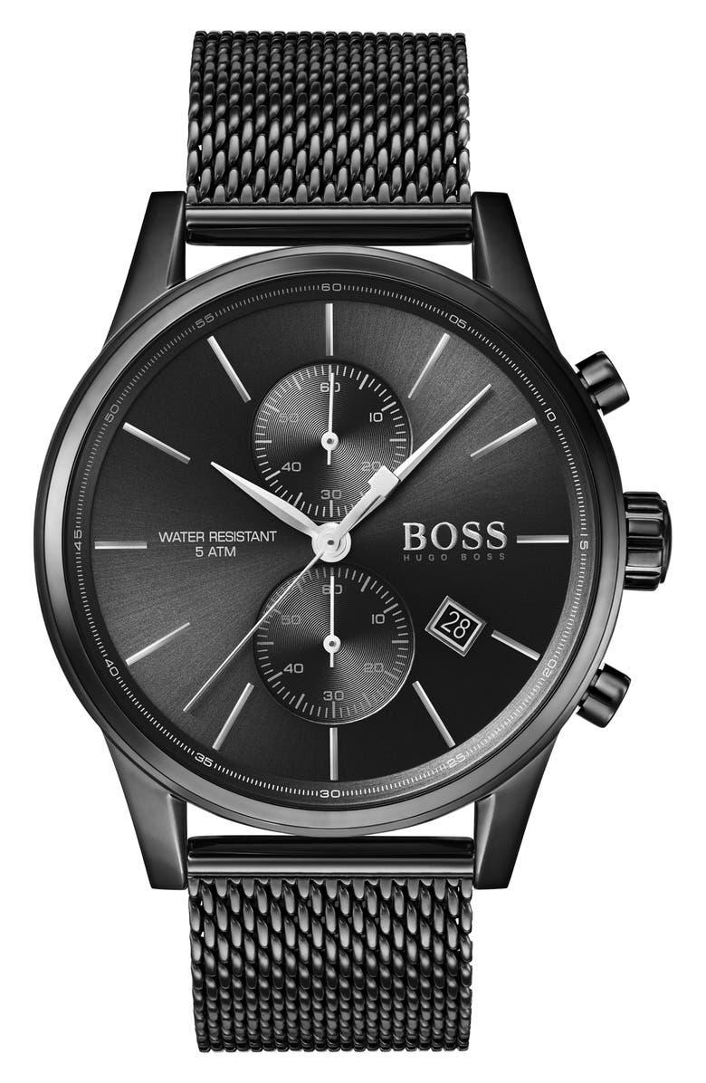 BOSS Jet Chronograph Mesh Strap Watch, 41mm, Main, color, BLACK