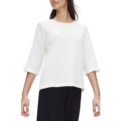 Eileen Fisher Jacquard Stretch Cotton Blend Boxy Top, Ivory