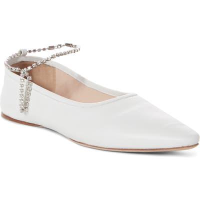 Miu Miu Crystal Anklet Flat, White