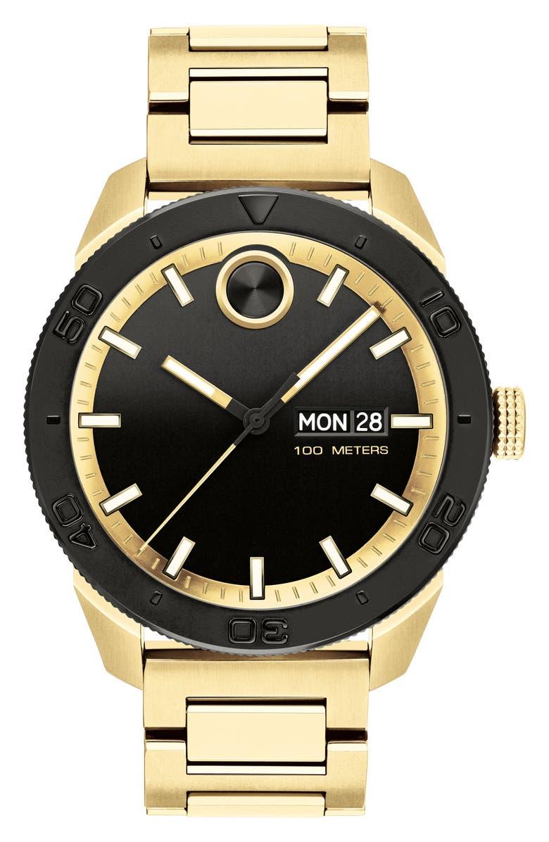 MOVADO Bold Bracelet Watch, 43.5mm, Main, color, GOLD/ BLACK/ GOLD
