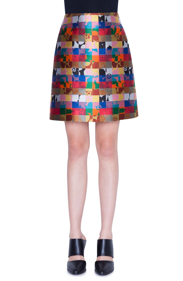 AKRIS PUNTO Floral Jacquard Skirt, Main, color, FLORAL SQUARED ALLOVER
