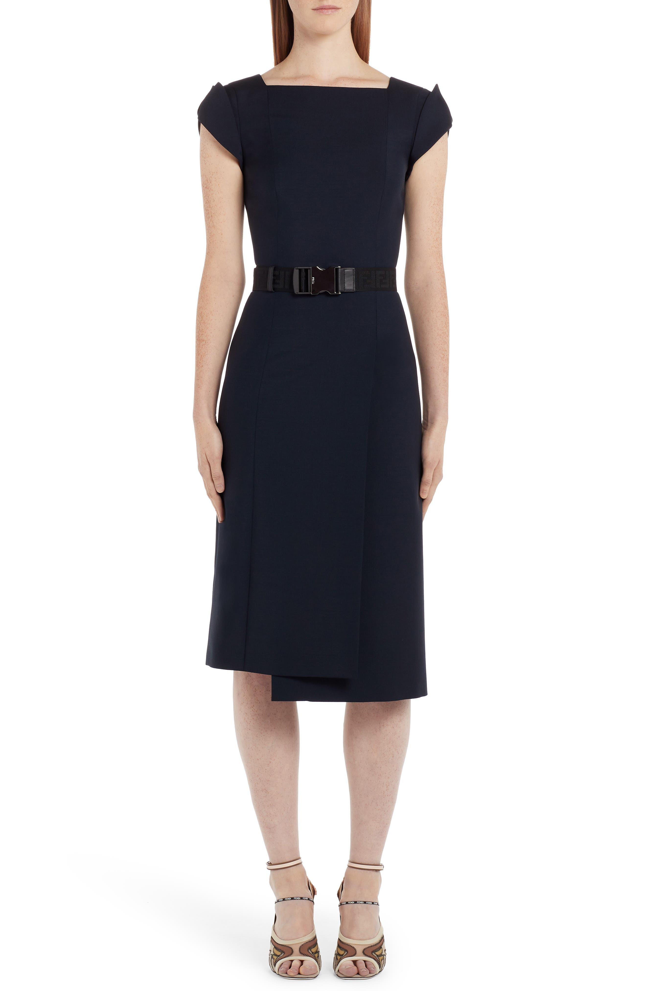 Fendi Belted Cap Sleeve Dress, 8 IT - Blue